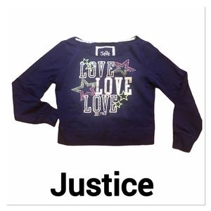 JUSTICE Navy Blue Off Shoulder Sweatshirt size 16